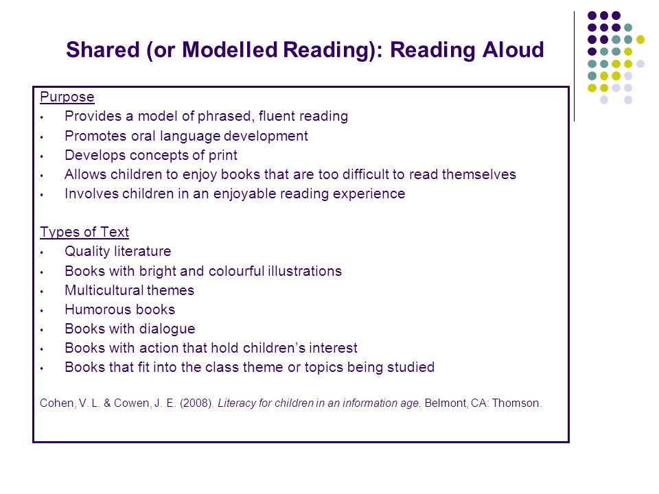 Shared (or Modelled Reading): Reading Aloud Purpose Provides a model of phrased, fluent reading Promotes oral language development Develops concepts of print Allows children to enjoy books that are too difficult to read themselves Involves children in an enjoyable reading experience Types of Text Quality literature Books with bright and colourful illustrations Multicultural themes Humorous books Books with dialogue Books with action that hold children's interest Books that fit into the class theme or topics being studied Cohen, V.