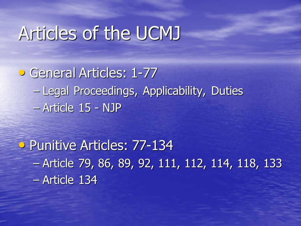 accountability ucmj articles 85 86 United states court of appeals for the armed forces cases  uniform code of military justice (ucmj), 10 usc §§ 801-946  ja at 85-86 on another occasion.