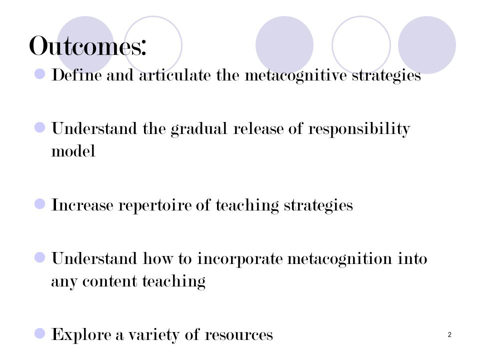 2 Outcomes: Define and articulate the metacognitive strategies Understand the gradual release of responsibility model Increase repertoire of teaching strategies Understand how to incorporate metacognition into any content teaching Explore a variety of resources