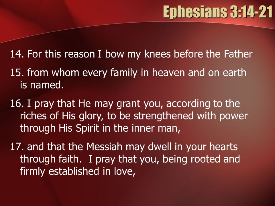 Ephesians 3: For this reason I bow my knees before the Father 15.