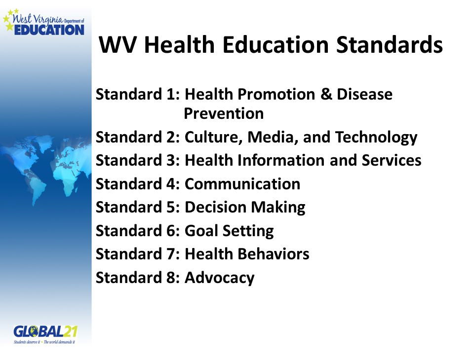 WV Health Education Standards Standard 1: Health Promotion & Disease Prevention Standard 2: Culture, Media, and Technology Standard 3: Health Information and Services Standard 4: Communication Standard 5: Decision Making Standard 6: Goal Setting Standard 7: Health Behaviors Standard 8: Advocacy