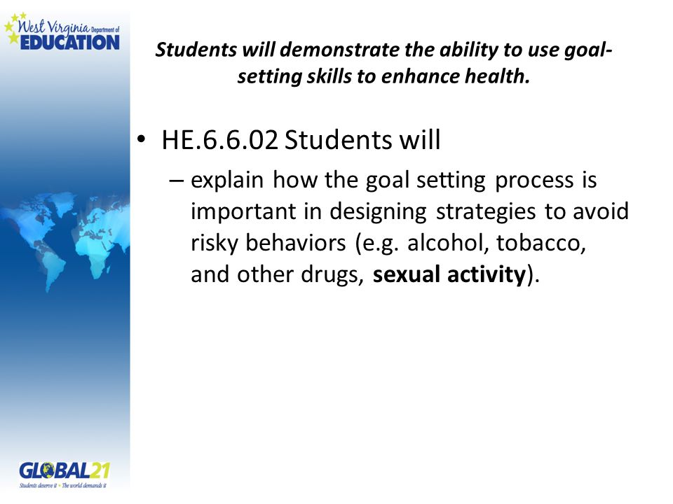 Students will demonstrate the ability to use goal- setting skills to enhance health.