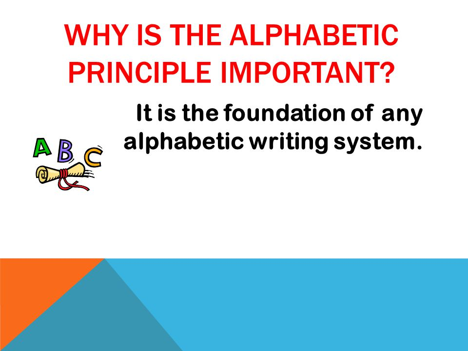 It is the foundation of any alphabetic writing system.