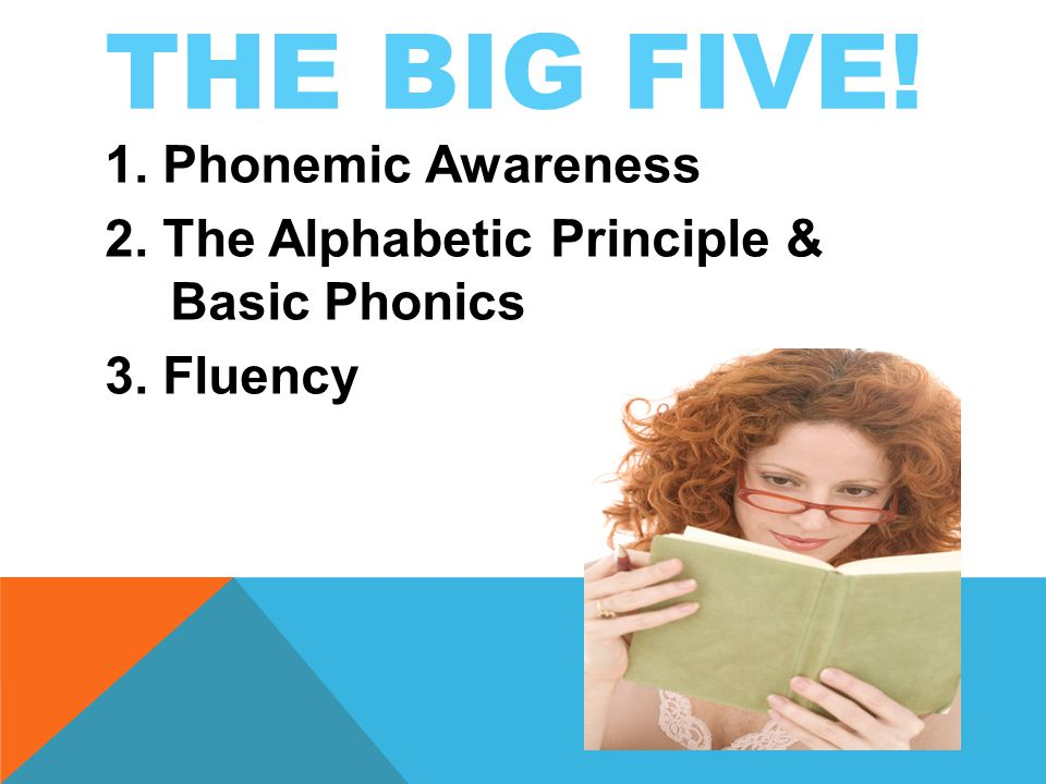 THE BIG FIVE! 1. Phonemic Awareness 2. The Alphabetic Principle & Basic Phonics 3. Fluency