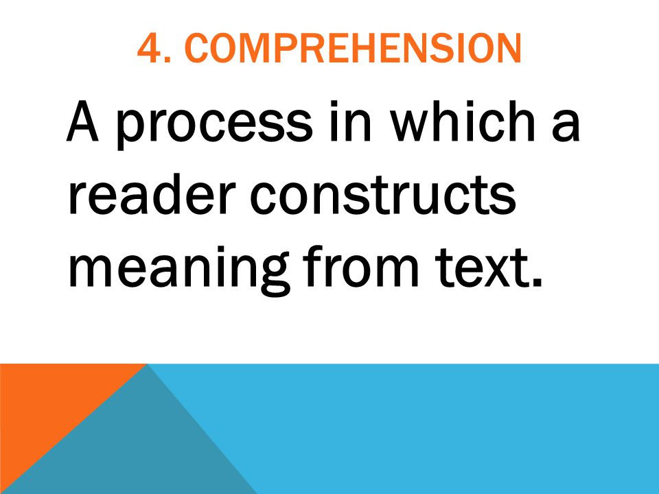 A process in which a reader constructs meaning from text.