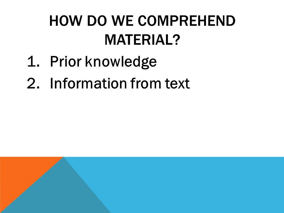 HOW DO WE COMPREHEND MATERIAL 1.Prior knowledge 2.Information from text
