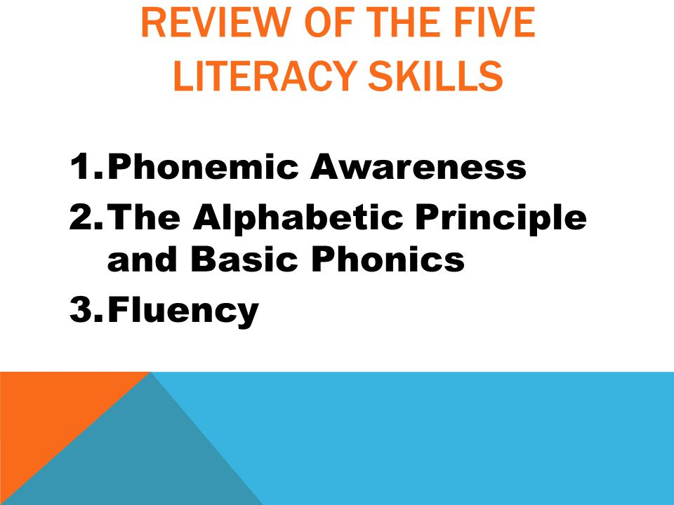 REVIEW OF THE FIVE LITERACY SKILLS 1.Phonemic Awareness 2.The Alphabetic Principle and Basic Phonics 3.Fluency