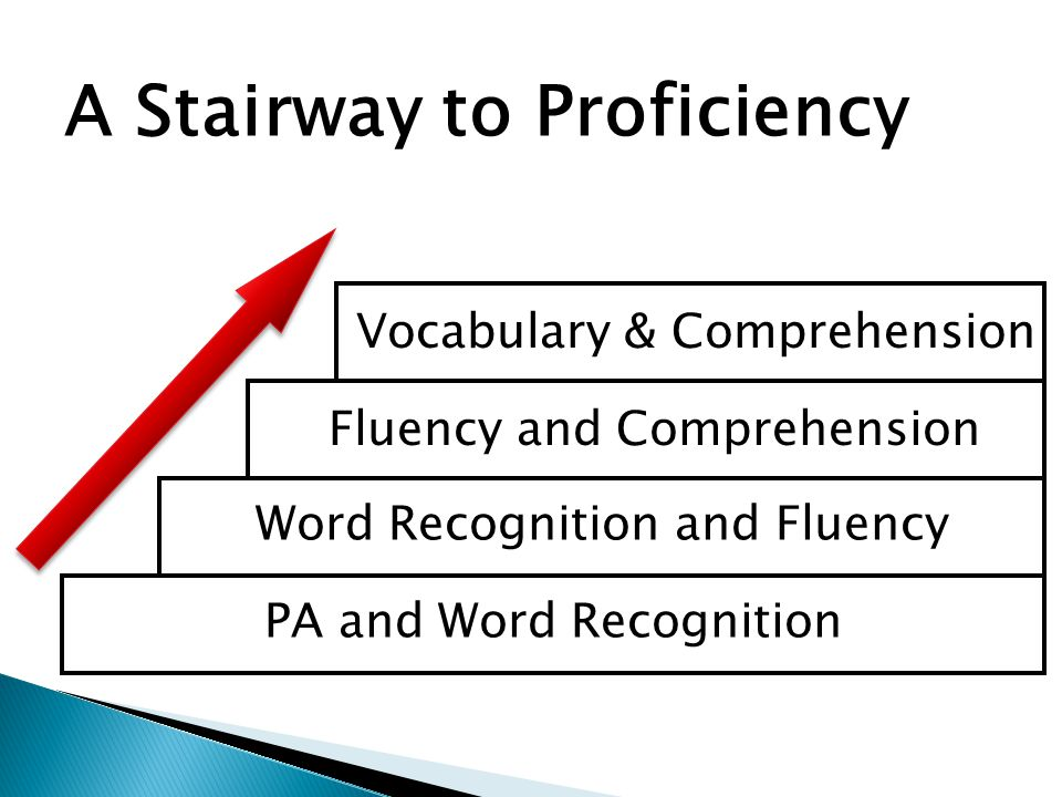 PA and Word Recognition Word Recognition and Fluency Fluency and Comprehension Vocabulary & Comprehension A Stairway to Proficiency