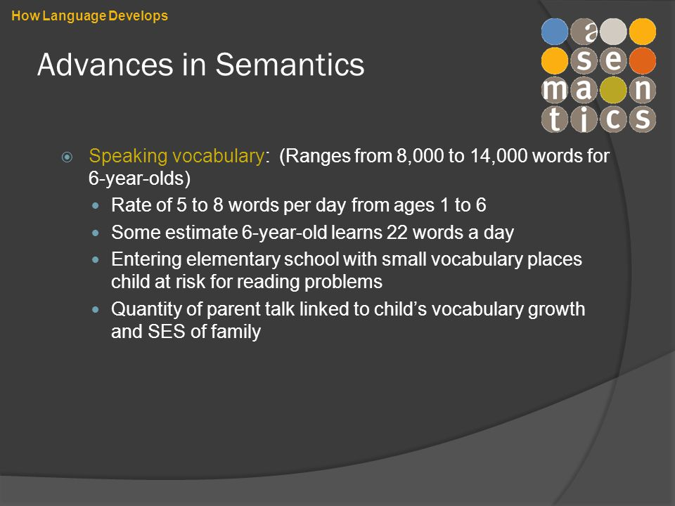 Advances in Semantics  Speaking vocabulary: (Ranges from 8,000 to 14,000 words for 6-year-olds) Rate of 5 to 8 words per day from ages 1 to 6 Some estimate 6-year-old learns 22 words a day Entering elementary school with small vocabulary places child at risk for reading problems Quantity of parent talk linked to child's vocabulary growth and SES of family How Language Develops