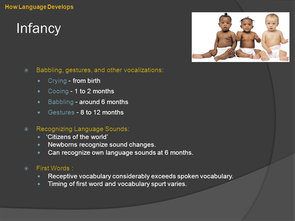 Infancy  Babbling, gestures, and other vocalizations: Crying - from birth Cooing - 1 to 2 months Babbling - around 6 months Gestures - 8 to 12 months  Recognizing Language Sounds: 'Citizens of the world' Newborns recognize sound changes.