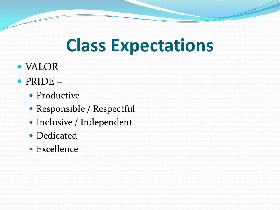 Class Expectations VALOR PRIDE – Productive Responsible / Respectful Inclusive / Independent Dedicated Excellence