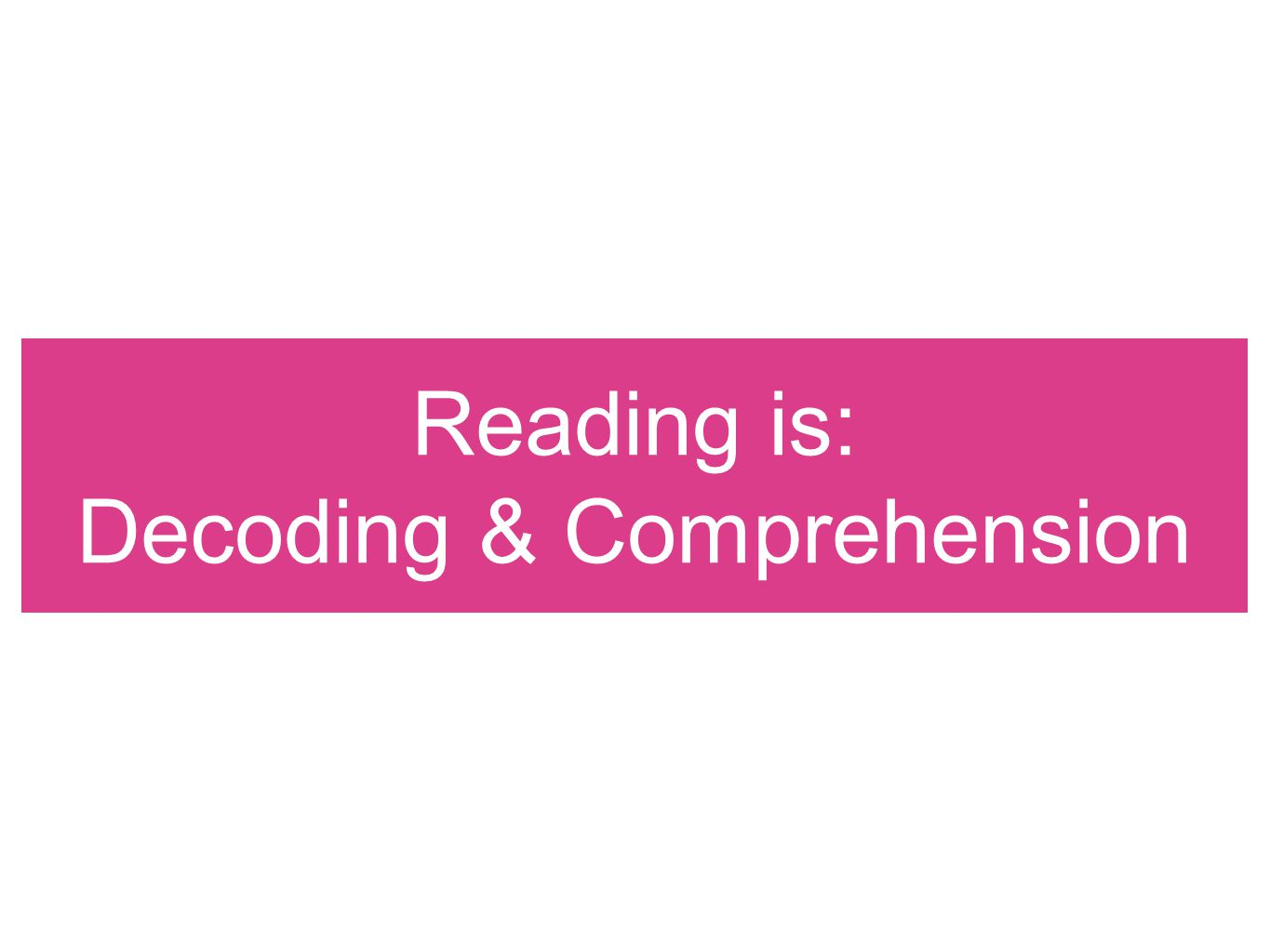 Reading is: Decoding & Comprehension