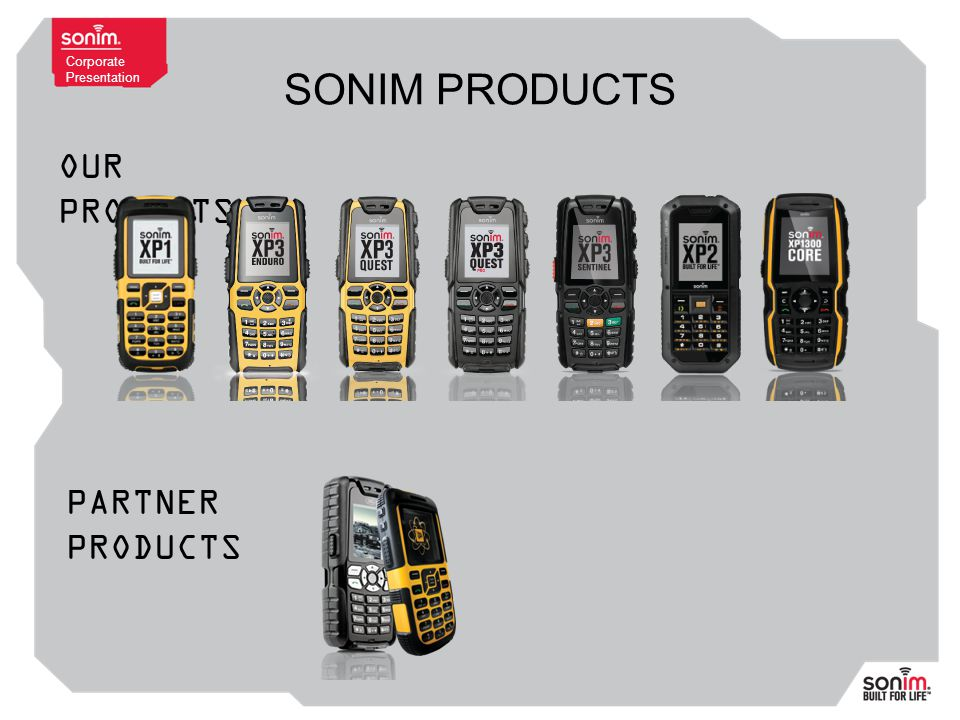 Corporate Presentation SONIM PRODUCTS OUR PRODUCTS PARTNER PRODUCTS