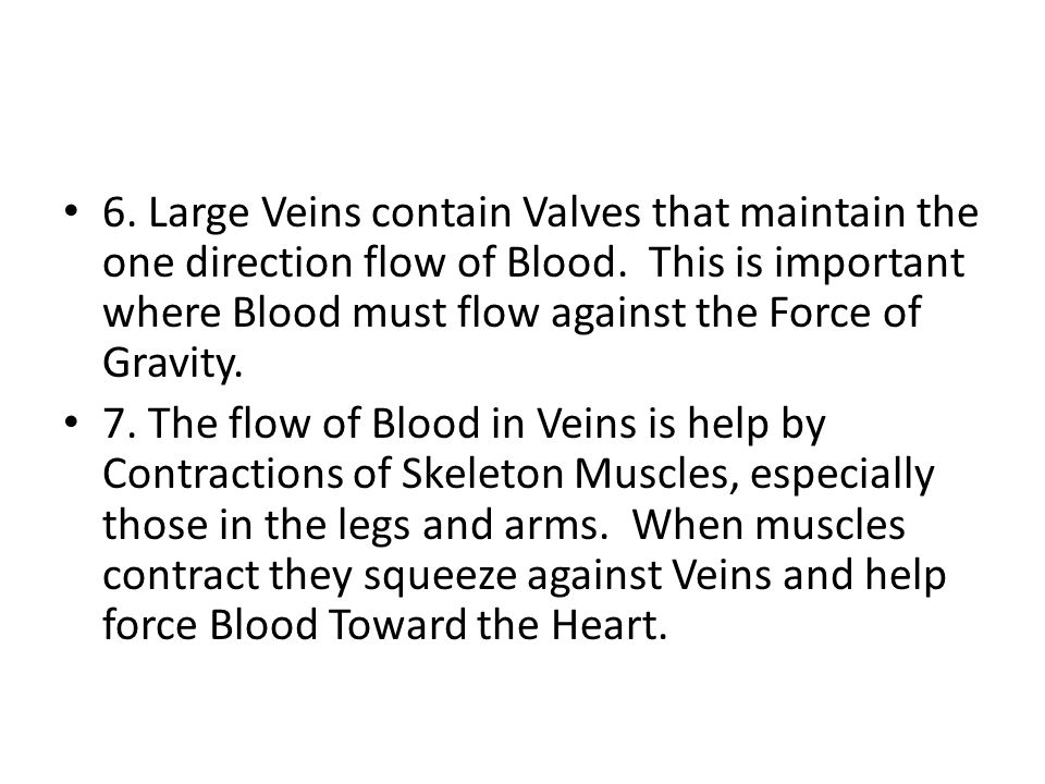 6. Large Veins contain Valves that maintain the one direction flow of Blood.