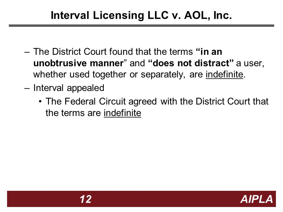 12 12 AIPLA Interval Licensing LLC v. AOL, Inc.