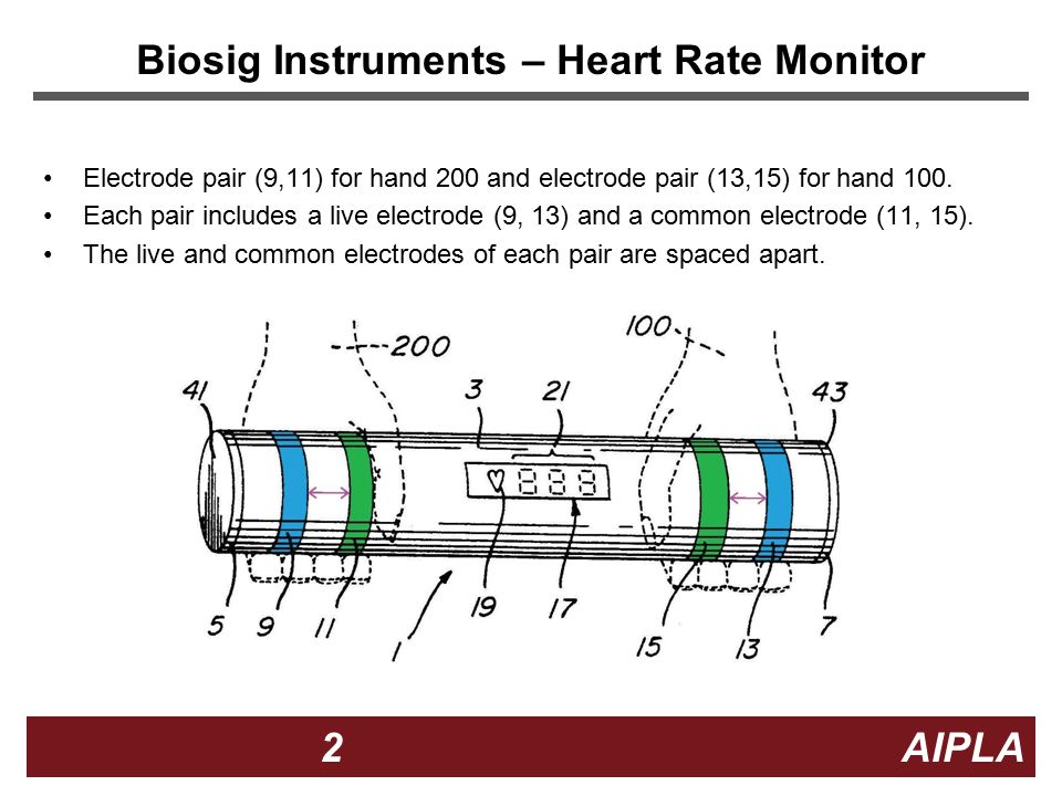 2 2 2 AIPLA Biosig Instruments – Heart Rate Monitor Electrode pair (9,11) for hand 200 and electrode pair (13,15) for hand 100.