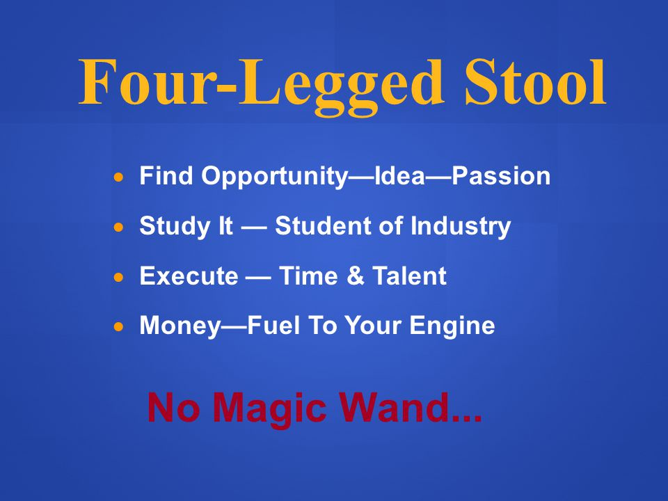 Four-Legged Stool  Find Opportunity—Idea—Passion  Study It — Student of Industry  Execute — Time & Talent  Money—Fuel To Your Engine No Magic Wand...