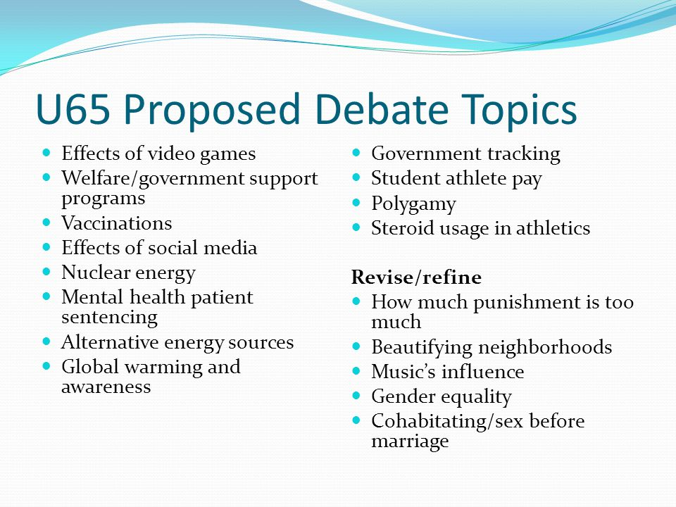 Sexual health debate topics