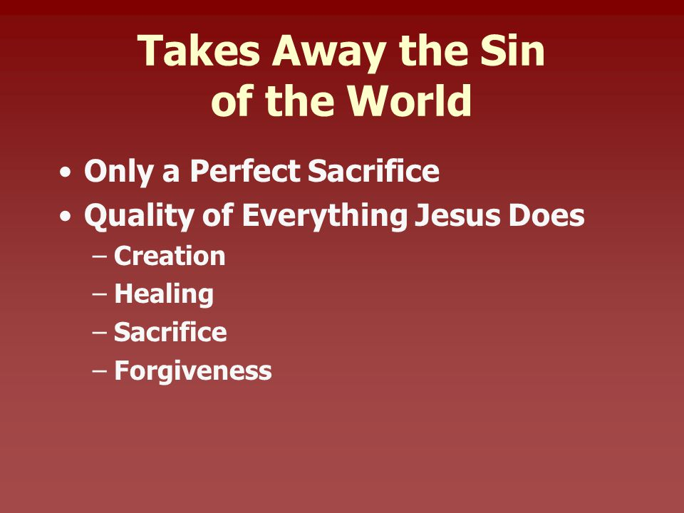 Takes Away the Sin of the World Only a Perfect Sacrifice Quality of Everything Jesus Does –Creation –Healing –Sacrifice –Forgiveness