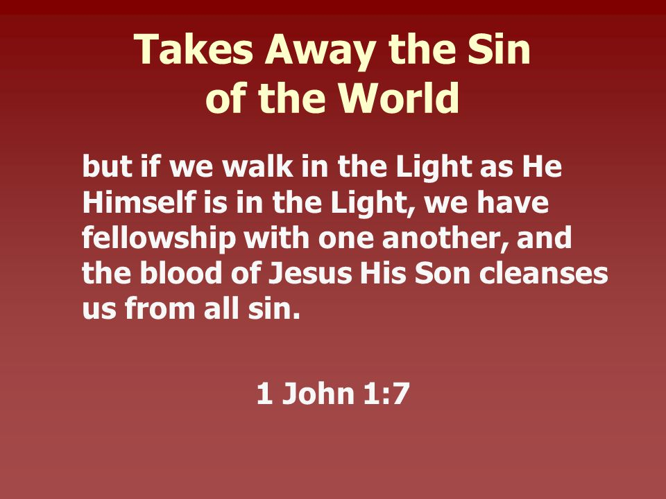 Takes Away the Sin of the World but if we walk in the Light as He Himself is in the Light, we have fellowship with one another, and the blood of Jesus His Son cleanses us from all sin.