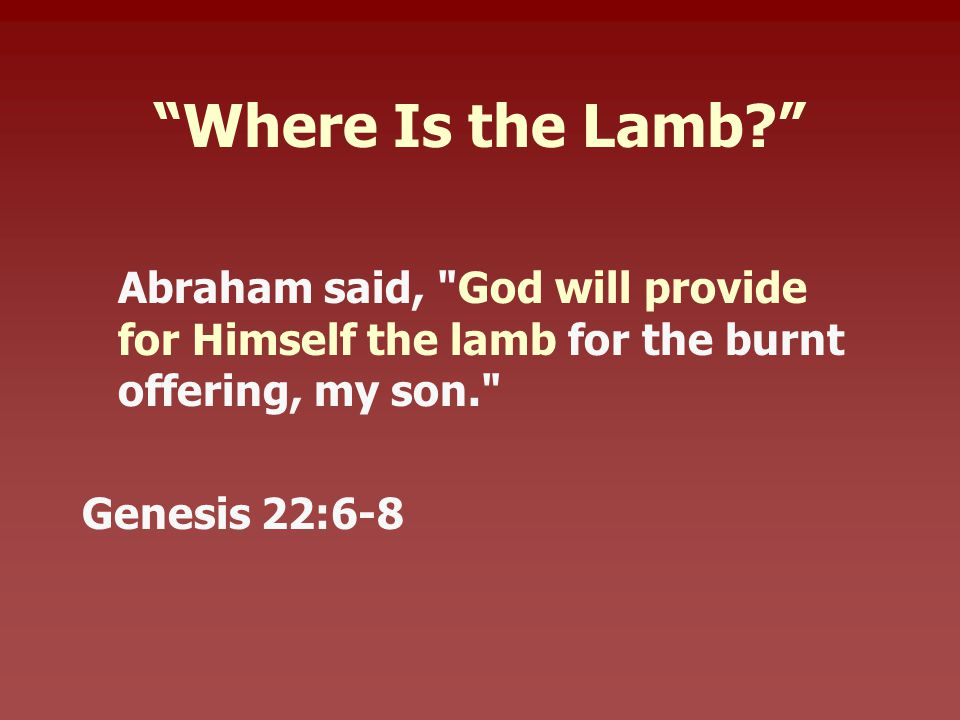 Where Is the Lamb Abraham said, God will provide for Himself the lamb for the burnt offering, my son. Genesis 22:6-8