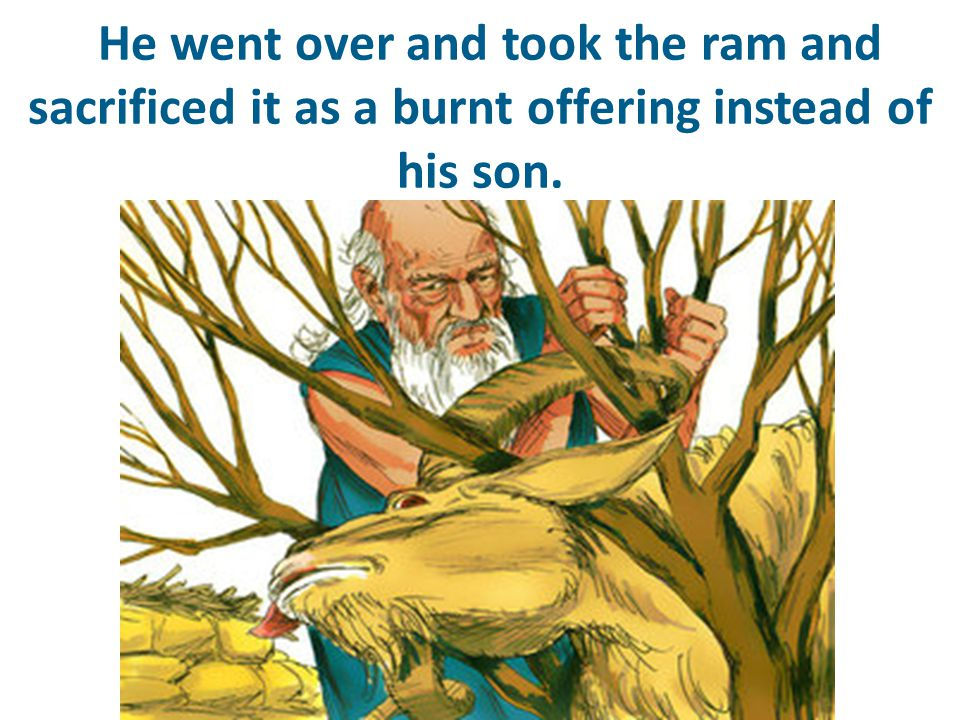 He went over and took the ram and sacrificed it as a burnt offering instead of his son.