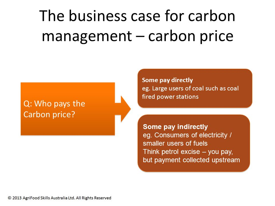 The business case for carbon management – carbon price Q: Who pays the Carbon price.