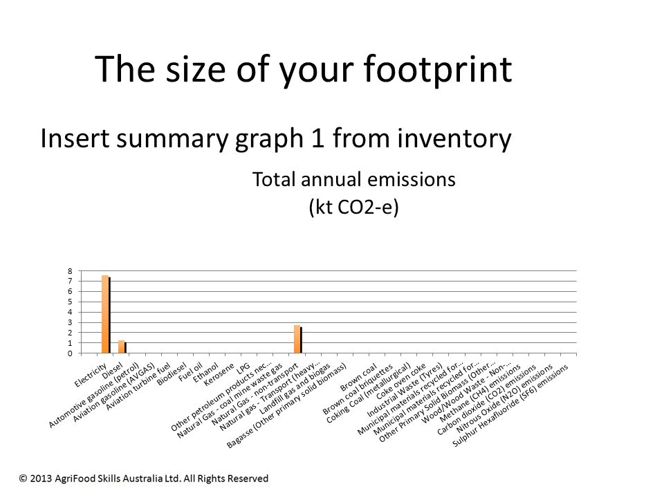The size of your footprint Insert summary graph 1 from inventory