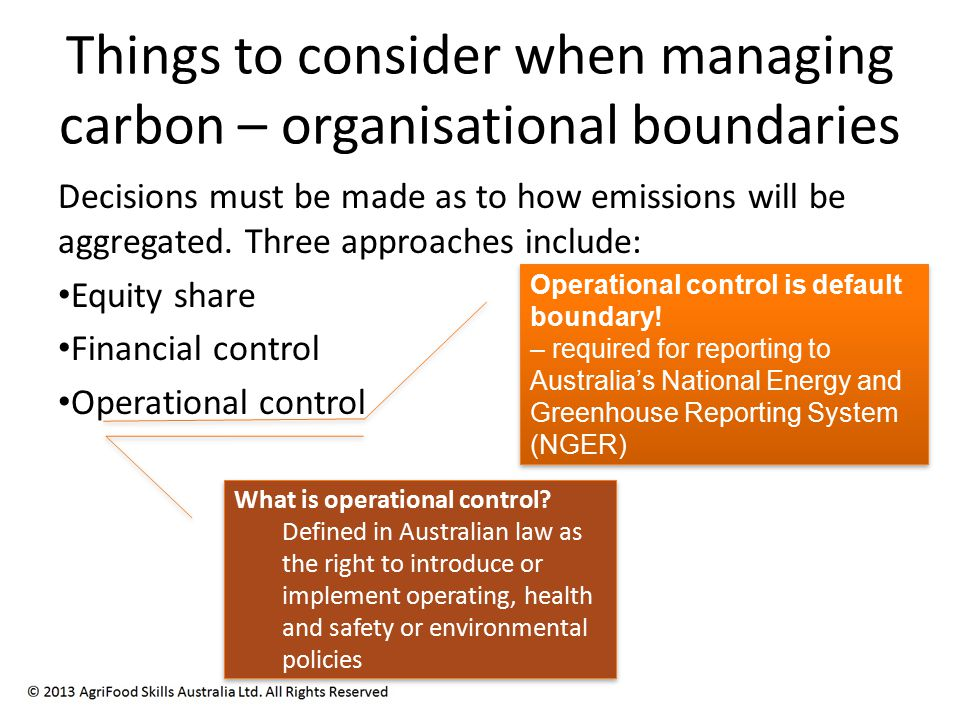 Things to consider when managing carbon – organisational boundaries Decisions must be made as to how emissions will be aggregated.