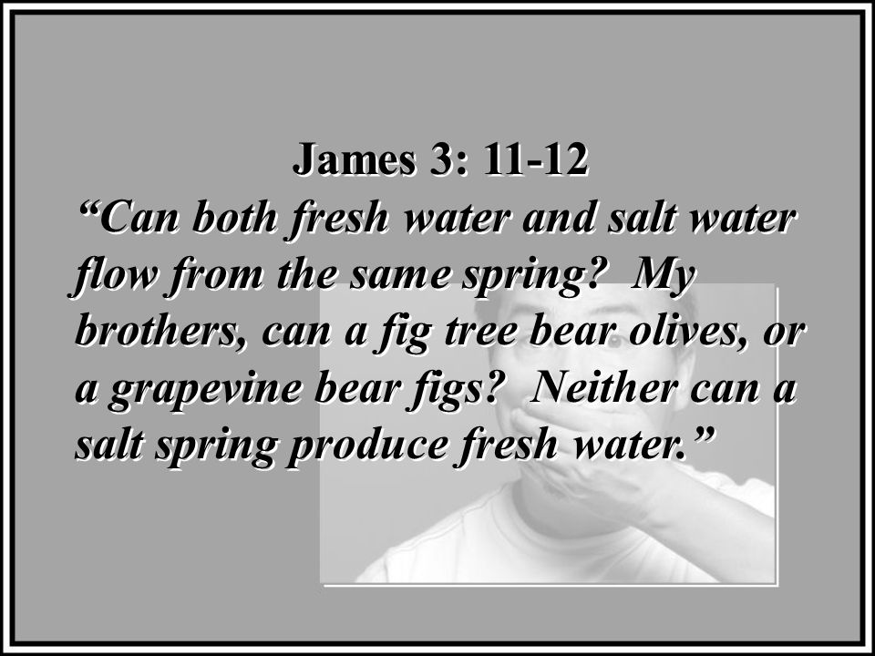 James 3: Can both fresh water and salt water flow from the same spring.