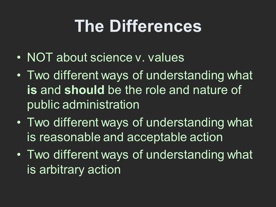 The Differences NOT about science v.