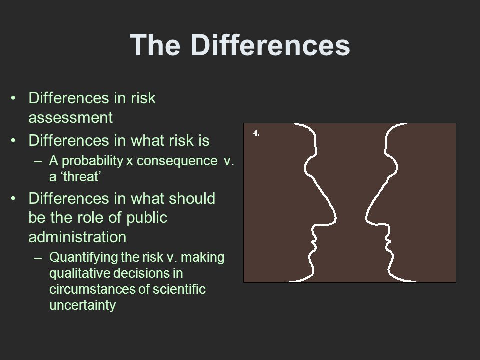 The Differences Differences in risk assessment Differences in what risk is –A probability x consequence v.