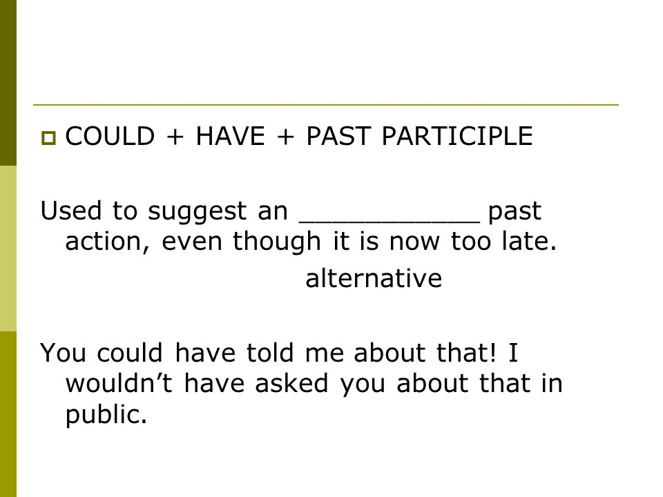  COULD + HAVE + PAST PARTICIPLE Used to suggest an ___________ past action, even though it is now too late.