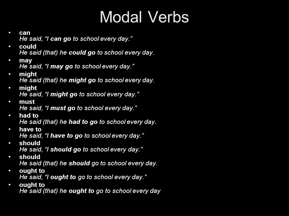 Modal Verbs can He said, I can go to school every day. could He said (that) he could go to school every day.