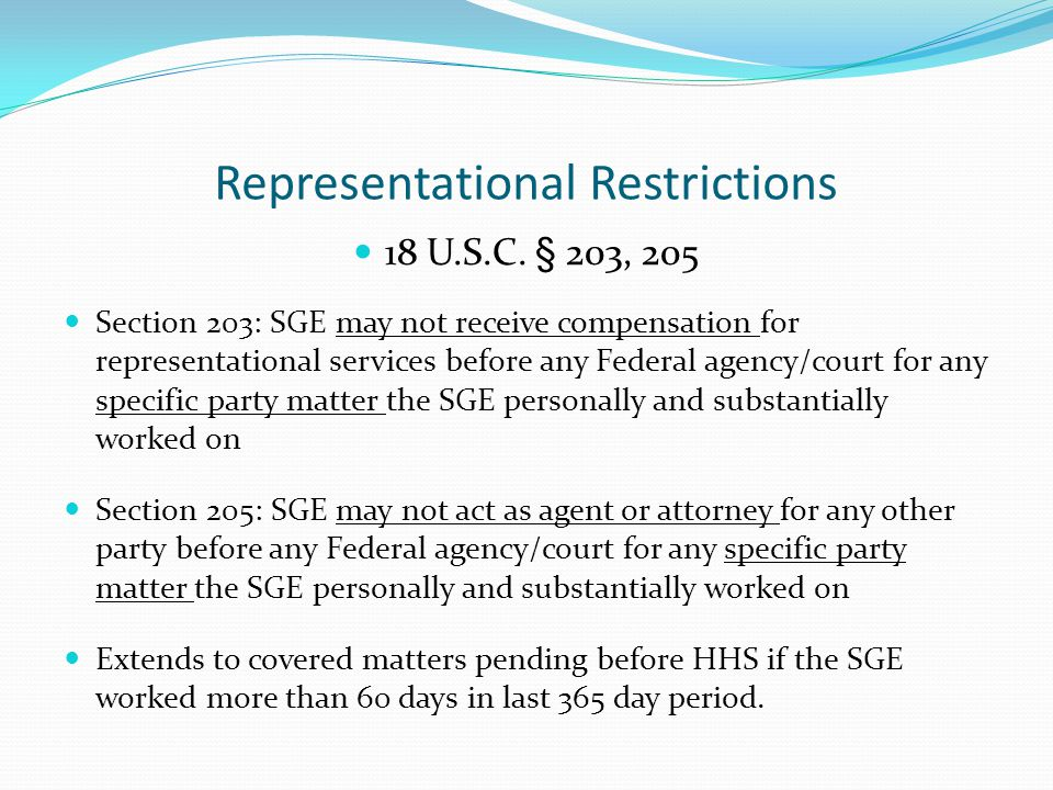 Representational Restrictions 18 U.S.C.