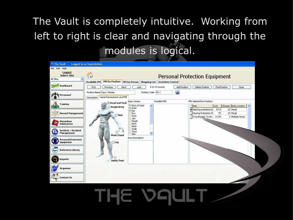 The Vault is completely intuitive.