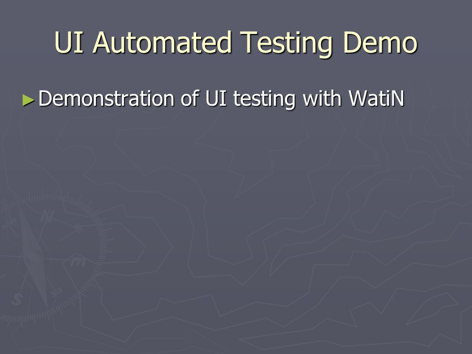 UI Automated Testing Demo ► Demonstration of UI testing with WatiN