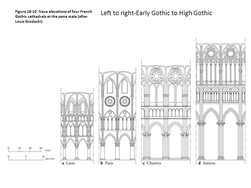 Figure Nave Elevations Of Four French Gothic Cathedrals At The Same Scale After Louis Grodecki
