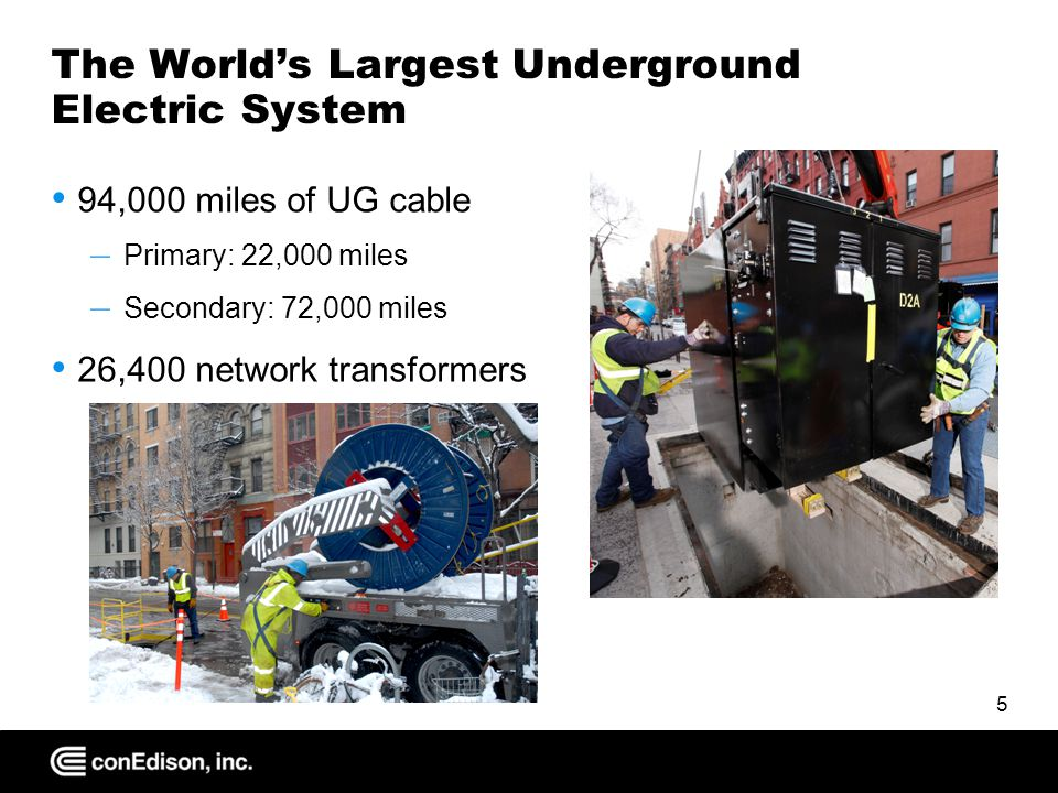 The World's Largest Underground Electric System 94,000 miles of UG cable – Primary: 22,000 miles – Secondary: 72,000 miles 26,400 network transformers 5