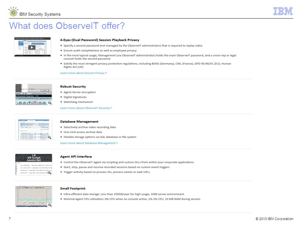 © 2013 IBM Corporation IBM Security Systems 7 What does ObserveIT offer