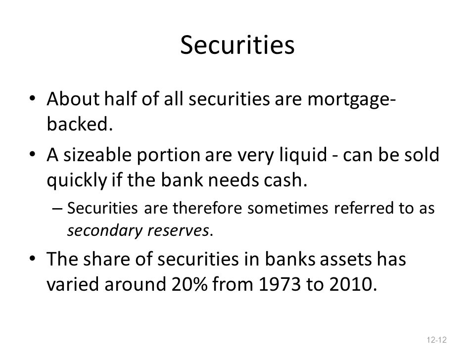 Securities About half of all securities are mortgage- backed.