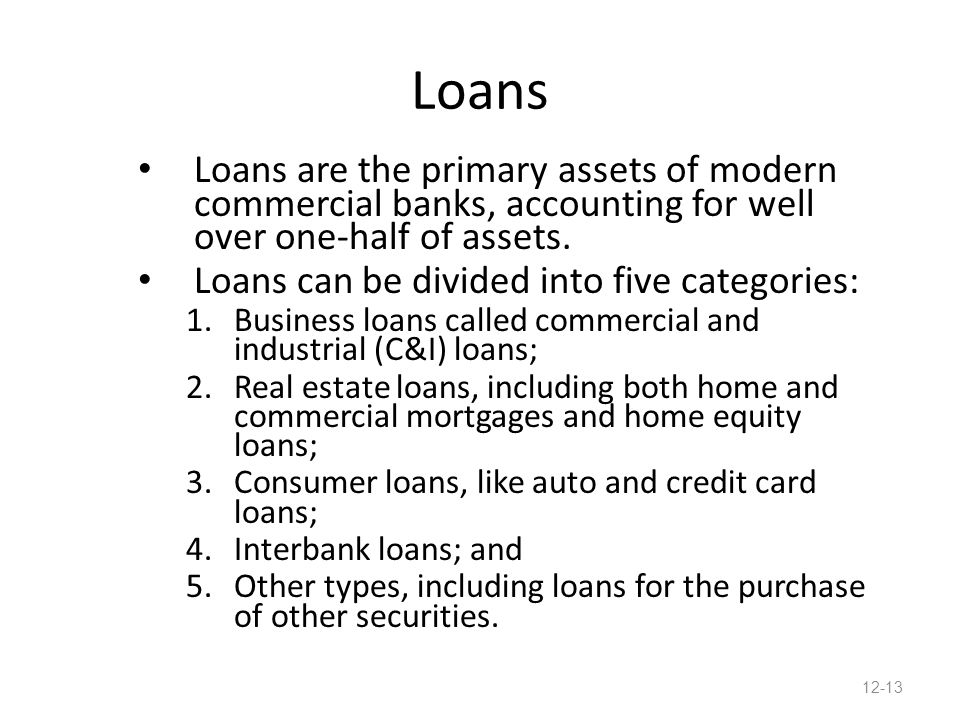 Loans Loans are the primary assets of modern commercial banks, accounting for well over one-half of assets.