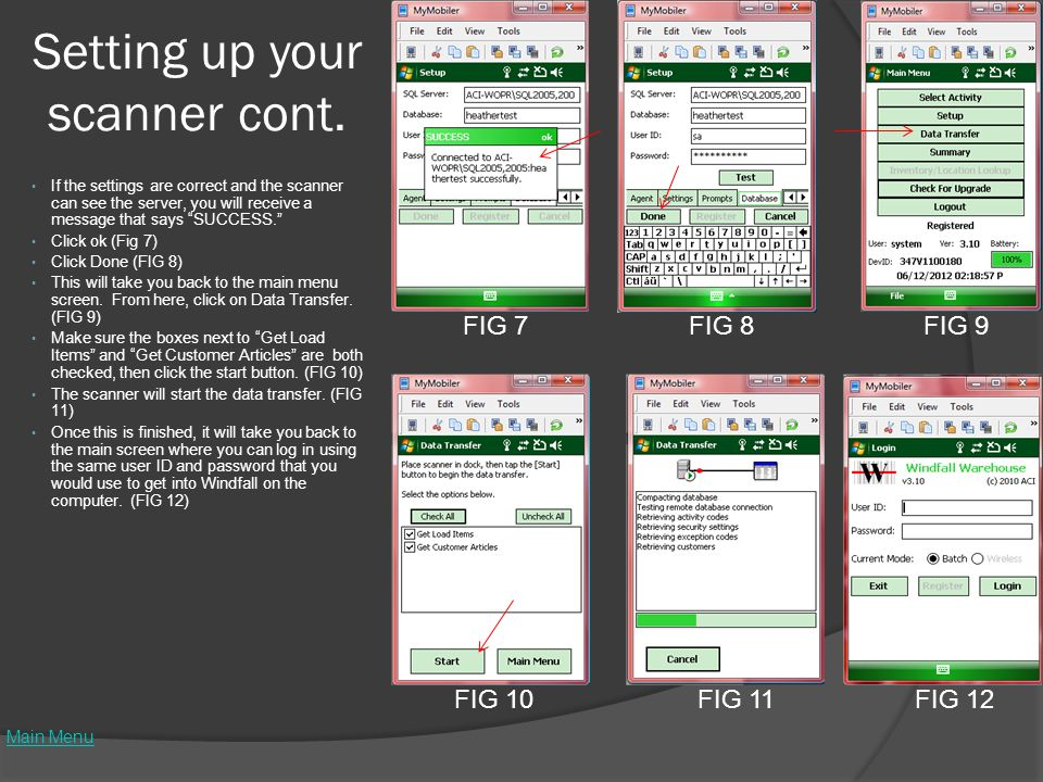 Setting up your scanner cont.