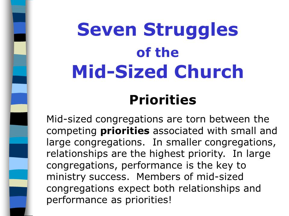 Seven Struggles of the Mid-Sized Church Priorities Pastoring Programming Personnel Participation Procedures Property Mid-Sized Church: 7 Struggles