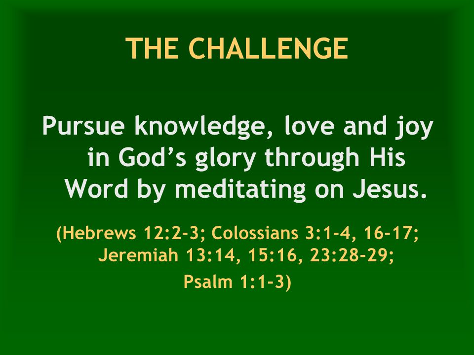 THE CHALLENGE Pursue knowledge, love and joy in God's glory through His Word by meditating on Jesus.