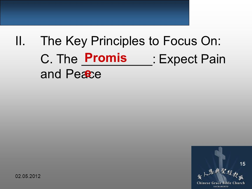 II.The Key Principles to Focus On: C. The __________: Expect Pain and Peace Promis e