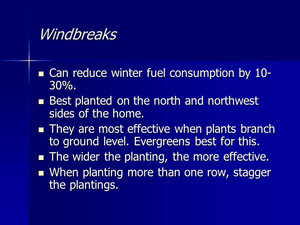 Windbreaks Can reduce winter fuel consumption by %.