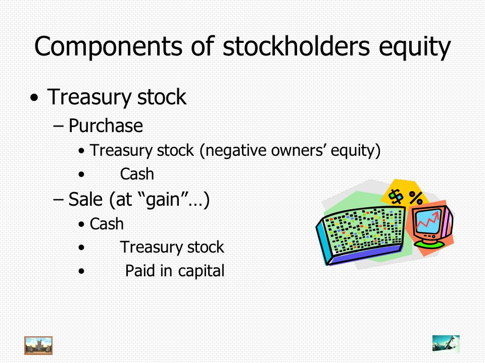 Components of stockholders equity Treasury stock –Purchase Treasury stock (negative owners' equity) Cash –Sale (at gain …) Cash Treasury stock Paid in capital