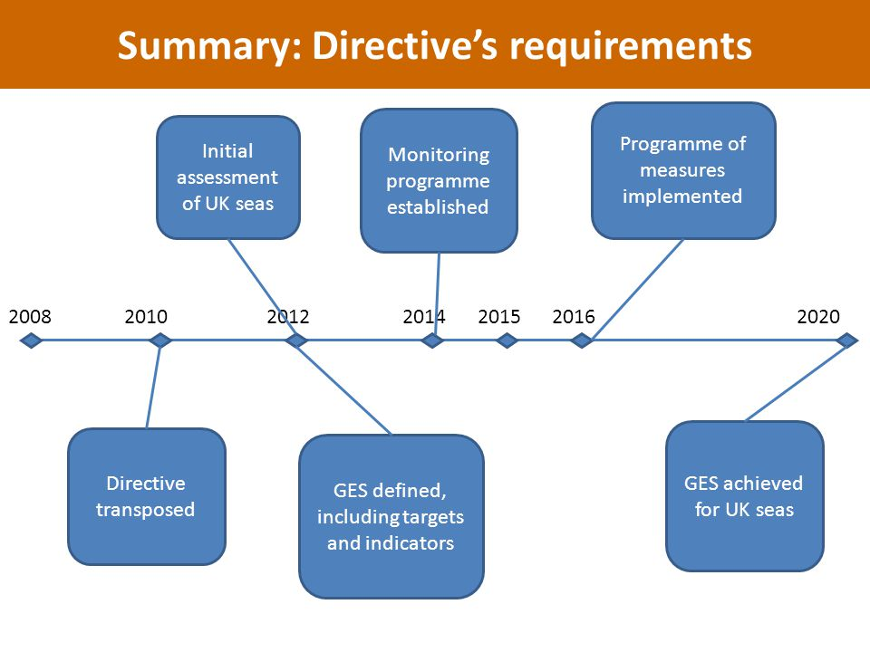 Directive transposed Initial assessment of UK seas GES defined, including targets and indicators Monitoring programme established Programme of measures implemented GES achieved for UK seas Summary: Directive's requirements