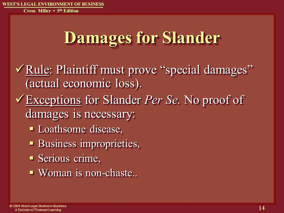 © 2004 West Legal Studies in Business A Division of Thomson Learning 14 Damages for Slander Rule: Plaintiff must prove special damages (actual economic loss).
